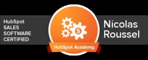 hubspot crm certification nicolas roussel