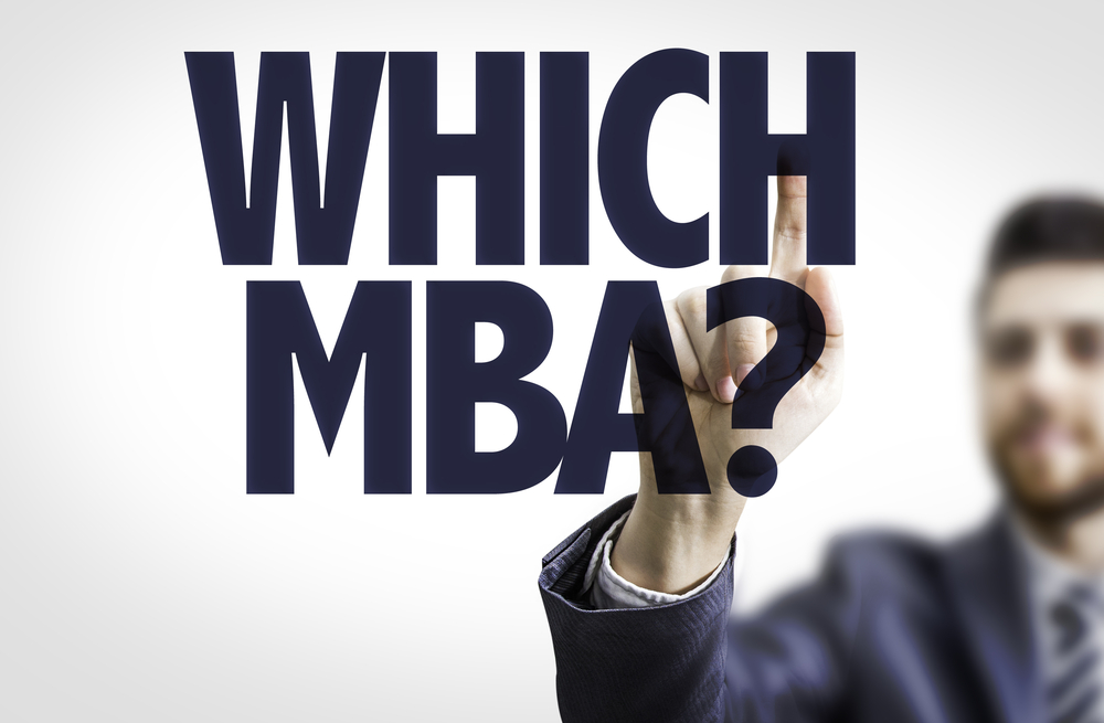 Business man pointing to transparent board with text Which MBA?