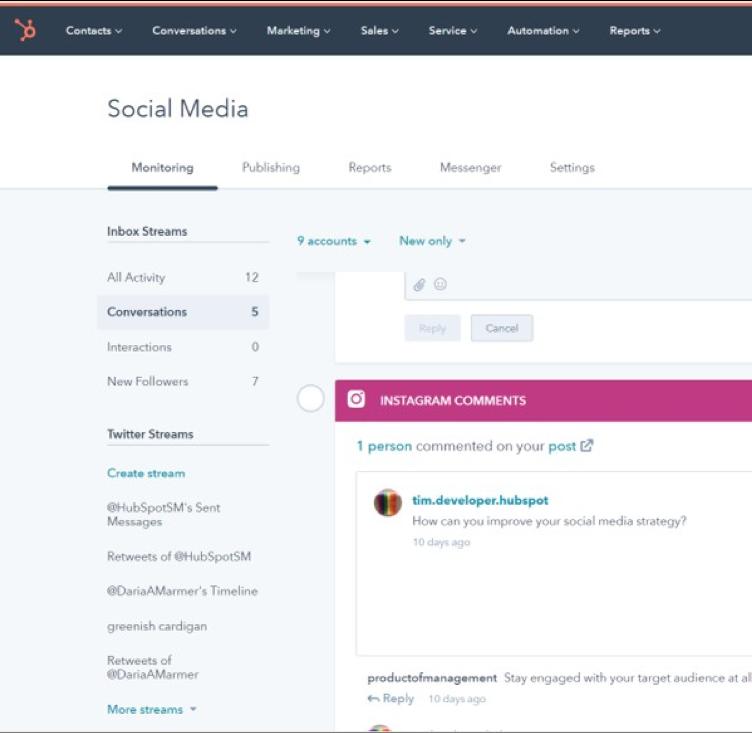 HubSpot outils de réseaux sociaux